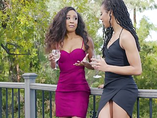 Ebony lesbians Kira Noir with an increment of Demi Sutra masturbate next to each other