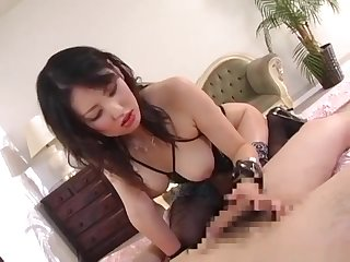 Japanese dom in lingerie snag a grasp at man
