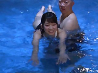 Japanese sporty babe Kumakura Shouko fucks after enticing a swim