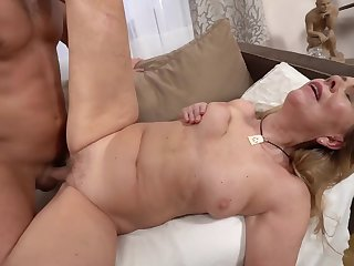 A hot bimbo granny is object fucked by a saleable younh man