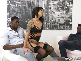 Korean porn lead actor Saya Song gives a blowjob coupled with gets sample penetrated by two pitch-black fellows