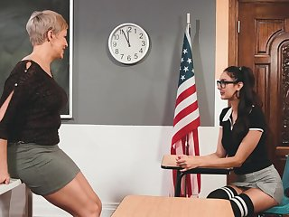 Horny lesbian MILF professor has a different education in mind