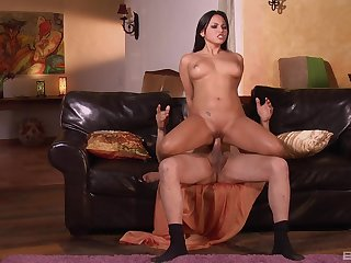 Hot brunette amazes nearly the brush strong cock riding skills