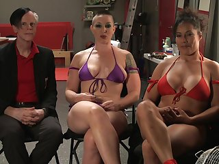 Busty babe Ariel X gets dominated by strong unladylike Mistress Kara