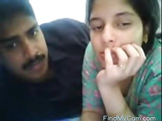 Blistering Indian mediocre couple and their dewy spooning on webcam
