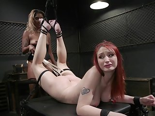 Hardcore, kinky lesbian bondage session for Violet Monroe and Lotus Lain