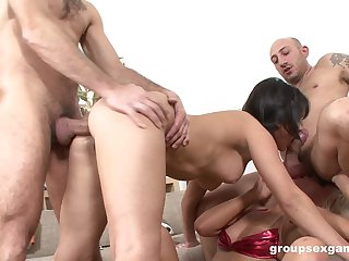 Bitches are being hard fucked in a jilted foursome