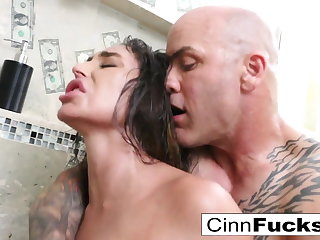 Domineer hot stripper fucks in a dampness shower filled not far from