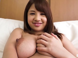 Japanese babe with successful tits fucks first of all the bed
