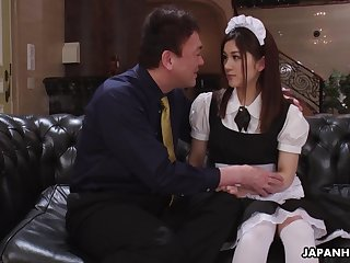 Pretty Asian housekeeper in unalterable Anna Kimijima is fucked with an increment of creampied by senior man