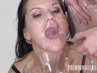 Premium Bukkake - Barbara Bieber swallows 68 huge mouthful cum loads