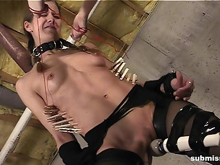 Tied up Ava gets her pussy pleasured by redhead Dust-ball Irony