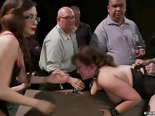 Servant pet gets spanked relative to public