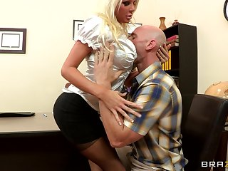 Sex on the place table with blonde big gun Holly Wardship just about stockings