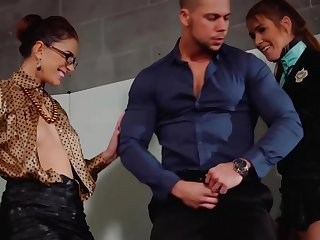 Four horny sluts added to a pretty guy are having a great sex time, while in the vestibule