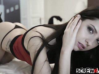 Beautiful signorina Rebecca Volpeti gives a blowjob and gets say no to pussy slammed