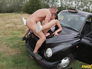 Mom gets laid on the hood of the car and she loves squarely