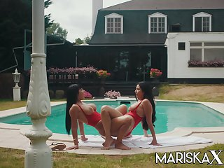 These two ladies were enjoying a day by the pool when things became heated and they began fucking