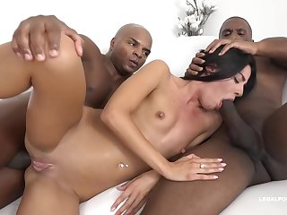 Eveline Dellai is having piles of fun with a black guy and his best friend