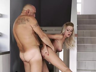 Hung daddy and old skinny granny Finally at home, finally