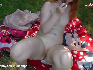 MyDirtyHobby - Teen redhead babe squirts on a public beach