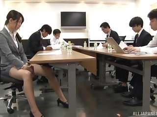 Smooth fucking in the office not far from nice tits secretary and her brass hats