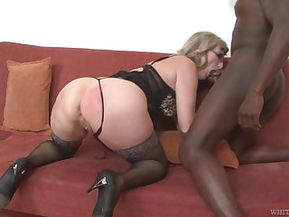 Mature housewife with broad in the beam loot Aja C is into riding with an increment of sucking fat BBC