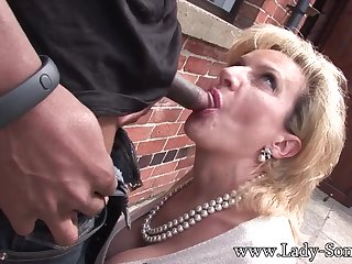 Wife Lady Rides Black Penis On The Pavement
