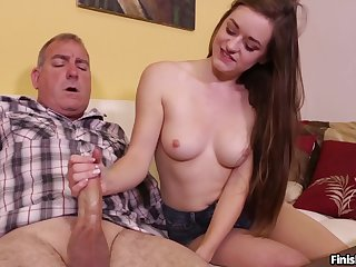 Old guy receives serious handjob outlander slutty niece