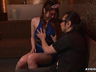 Japanese escort Yuka Kurosawa  is fucked and creampied by two clients all round the gloom club