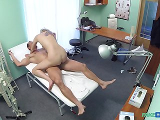 Sylvia V. ends up riding her doctor's cock in the analgesic room