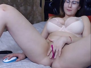Lovely chubby big titted inclusive masturbating added to having fun
