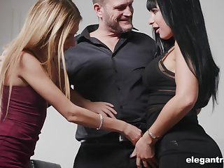 Valentina Ricci together with her nasty girlfriend are fucked away from four kinky together with esurient beggar