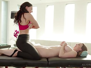 Massage girl Angela Colourless gives a full body massage to bodacious milf Chanel Preston