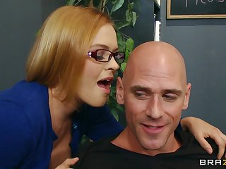 Seductive secretary Krissy Lynn loves having sex on transmitted to office table