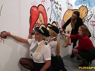 Naughty officials officers Amber Jayne and Amber West suck dicks