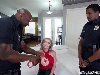 Discriminating threesome for a hot become man with two black cops