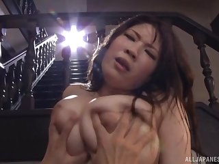 Hot pain in the neck Saegusa Chitose mature spreads her frontier fingers to masturbate