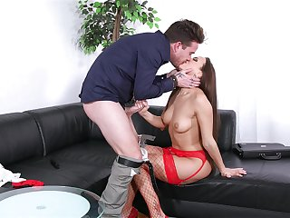 Bitch helter-skelter red lingerie, crazy couch sex and cum on face