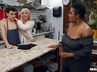Boss bitch Dana Dearmond and customer Layton Benton kitchen garden a dorky barista