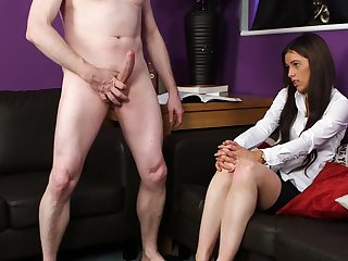 Deep orgasm after the cute ass schoolgirl sucks dick clothed