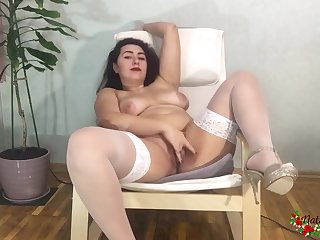 Brunette Flaunts Forwards Of The Camera In White Stockings Jerks Off Pussy And Brings Yourselves