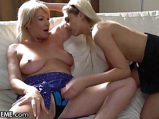 Shaved Blonde Schoolgirl & Granny Exchange Pussy Licks - Mature lesbian sex